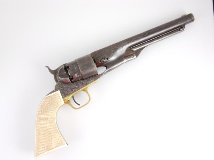 1860 Engraved Colt Army, Checkered Ivory Grips