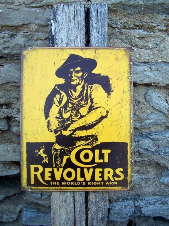 Colt Revolvers Metal Advertising Sign