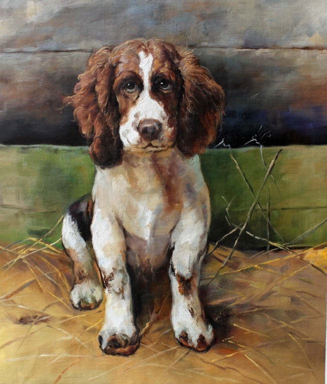 Student of Fulton, Oil on Canvas Painting, Spaniel