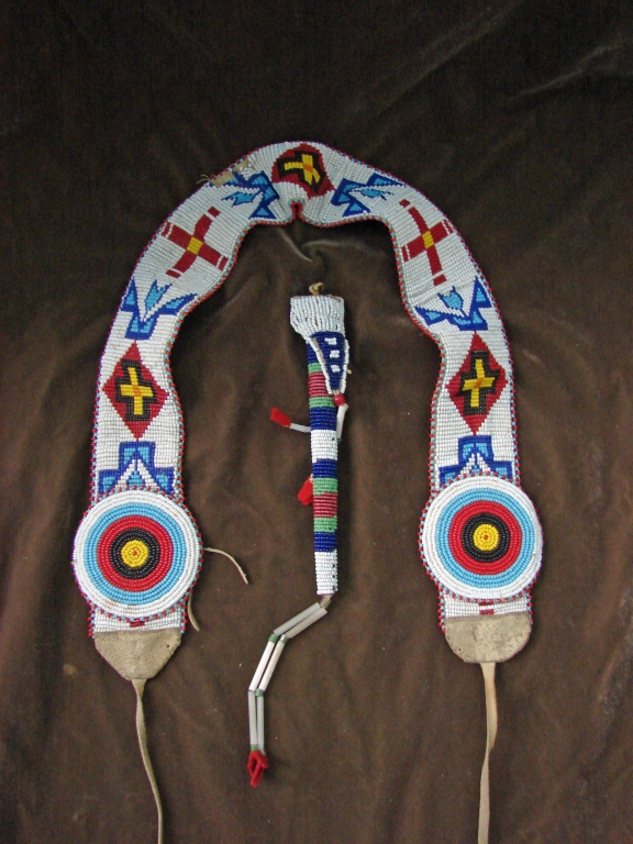 Vintage Native American Beaded Belt & Awl Bag