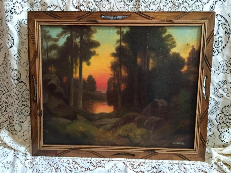 Early 20thc Signed Sunset Landscape Oil Painting