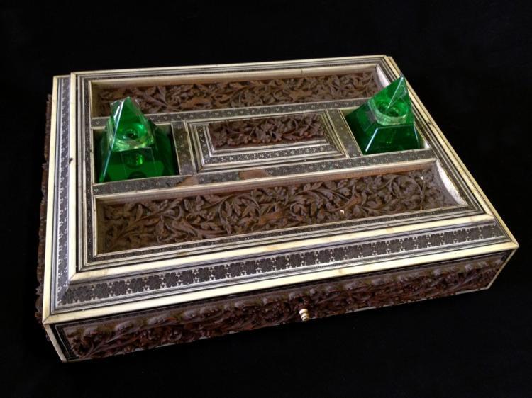 Mid 19thc Anglo-Indian Sadeli Inkstand, Bombey Box