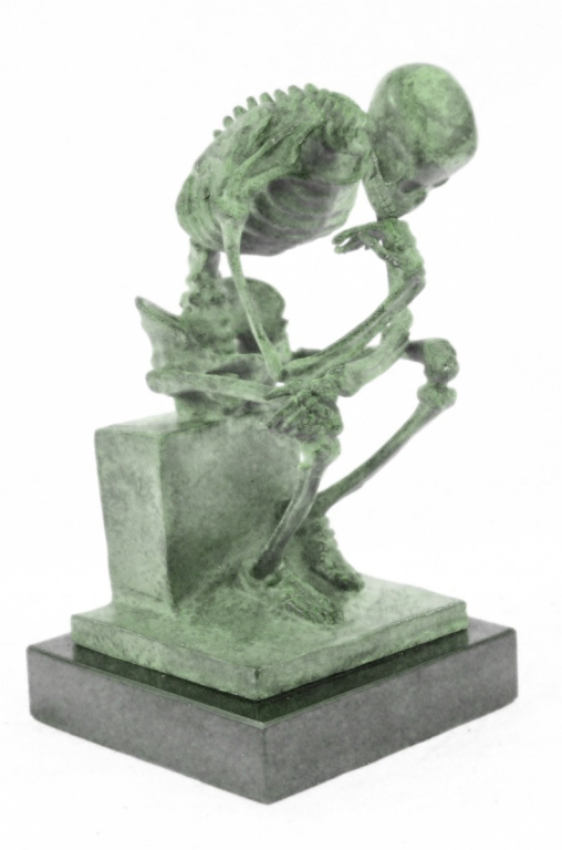 Skeleton Thinker, Bronze Sculpture