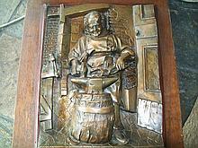 PP0824 19th c. Bronze Plaque Blacksmith, Signed.