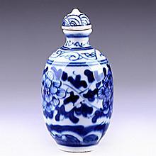 Underglaze Blue Porcelain Snuff Bottle