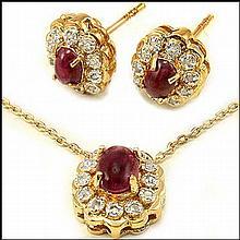 Ruby & Diamond Designer Set, Necklace, Earrings
