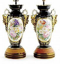 Pair Paris porcelain vases mounted as lamps