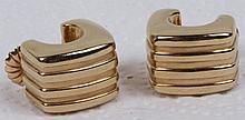 Pair 14K Gold Ribbed Yellow Earrings