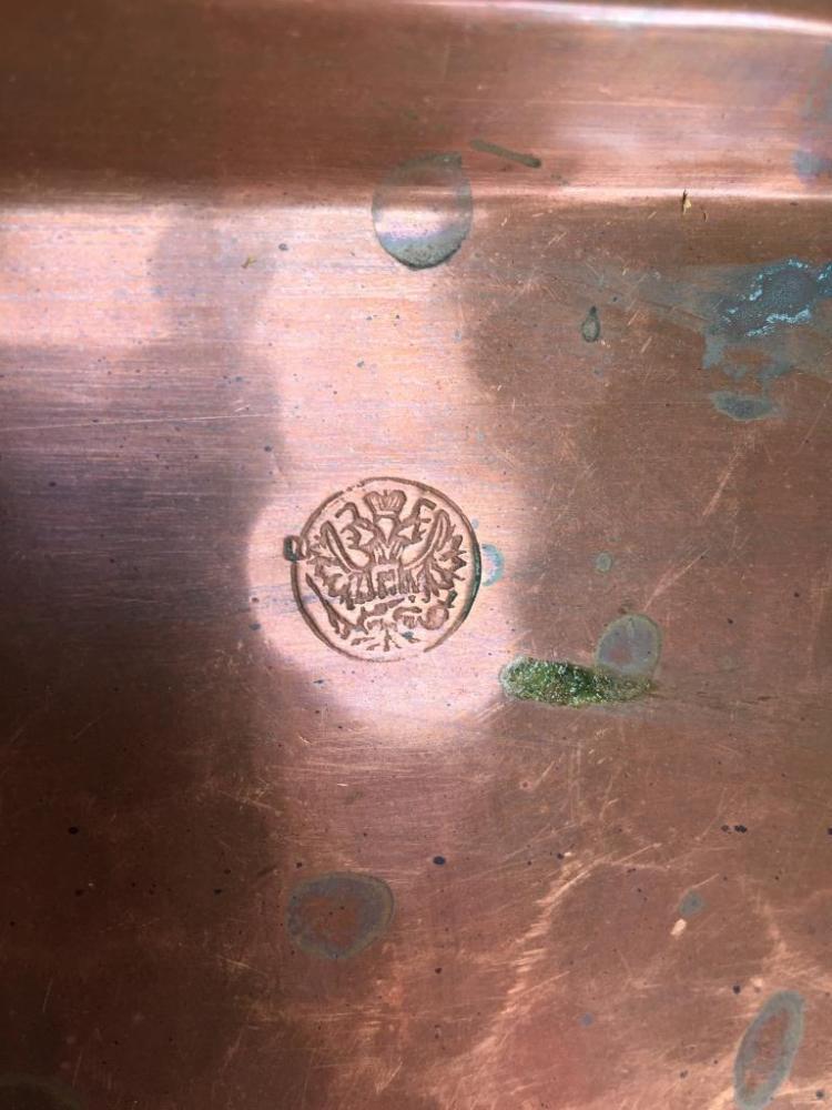 Furniture Bluffton Sc Lot 462: 19thc Russian Brass Handled Copper Tray
