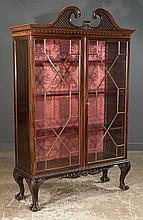Chippendale-style Mahogany Bookcase, Cabinet