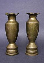 Pair World War II Trench Art Brass Vases