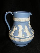 Vintage 14 Oz Blue Jasperware Wedgwood Pitcher