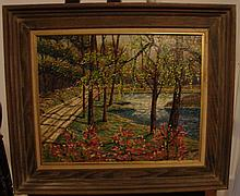 OIL ON BOARD LANDSCAPE BUCKS COUNTRY (PA) ATTRIBUT