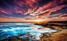 Signed Oil on Canvas Painting, Coastal Sunset