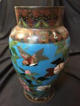 19thc Cloisonne Birds & Butterflies Floral Vase