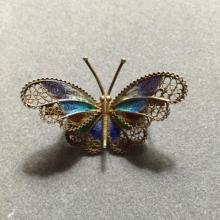 Vintage Italian Enamel Butterfly Brooch Pin
