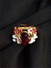 Swarovski Crystal & Enamel Butterfly Ring