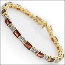 Garnet & Diamond Tennis Bracelet