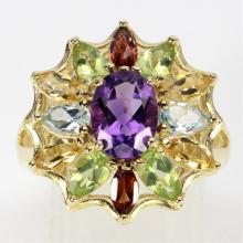 Amethyst & Multi-Gemstone Cocktail Ring