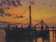 Oil on Canvas Painting, Shrimp Boat Sunset