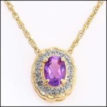 Amethyst & Diamond Gold Necklace