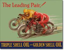 Shell Oil Motorcycle Race Advertising Tin Sign