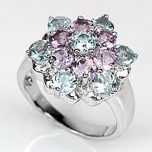 Purple Amethyst, Blue Topaz Silver Flower Ring