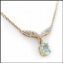 Blue Topaz, Diamond Drop Necklace.