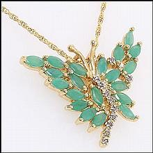 Emerald, Diamond Butterfly Pendant Necklace