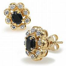 Black Sapphire, Diamond Earrings