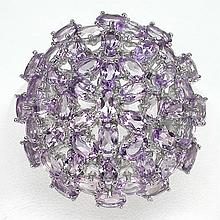 Purple Amethyst, Silver Statement Ring.