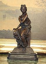 Regal Bronze Sculpture Greek Goddess