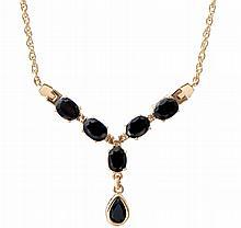 Black Sapphire, Diamond Drop Necklace.