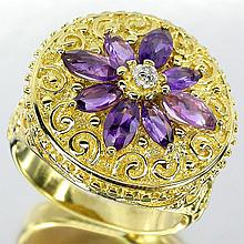 Purple Amethyst & Diamond Ring
