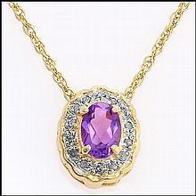 Amethyst, Diamond 18k Necklace