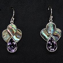 Amethyst and Mother of Pearl (natural) earrings
