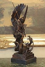 Saint Michael Dragon Slayer Bronze Sculpture