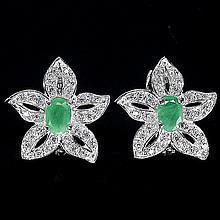 Fancy Natural Emerald Star Earrings