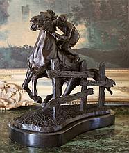 Excellent Bronze Sculpture Steeplechase