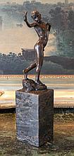 Nude Boy with Slingshot Bronze Sculpture