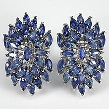 RICH BLUE SAPPHIRE FLOWER EARRINGS
