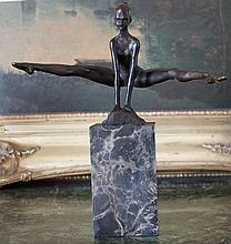 Beautiful Girl Gymnast Bronze Sculpture