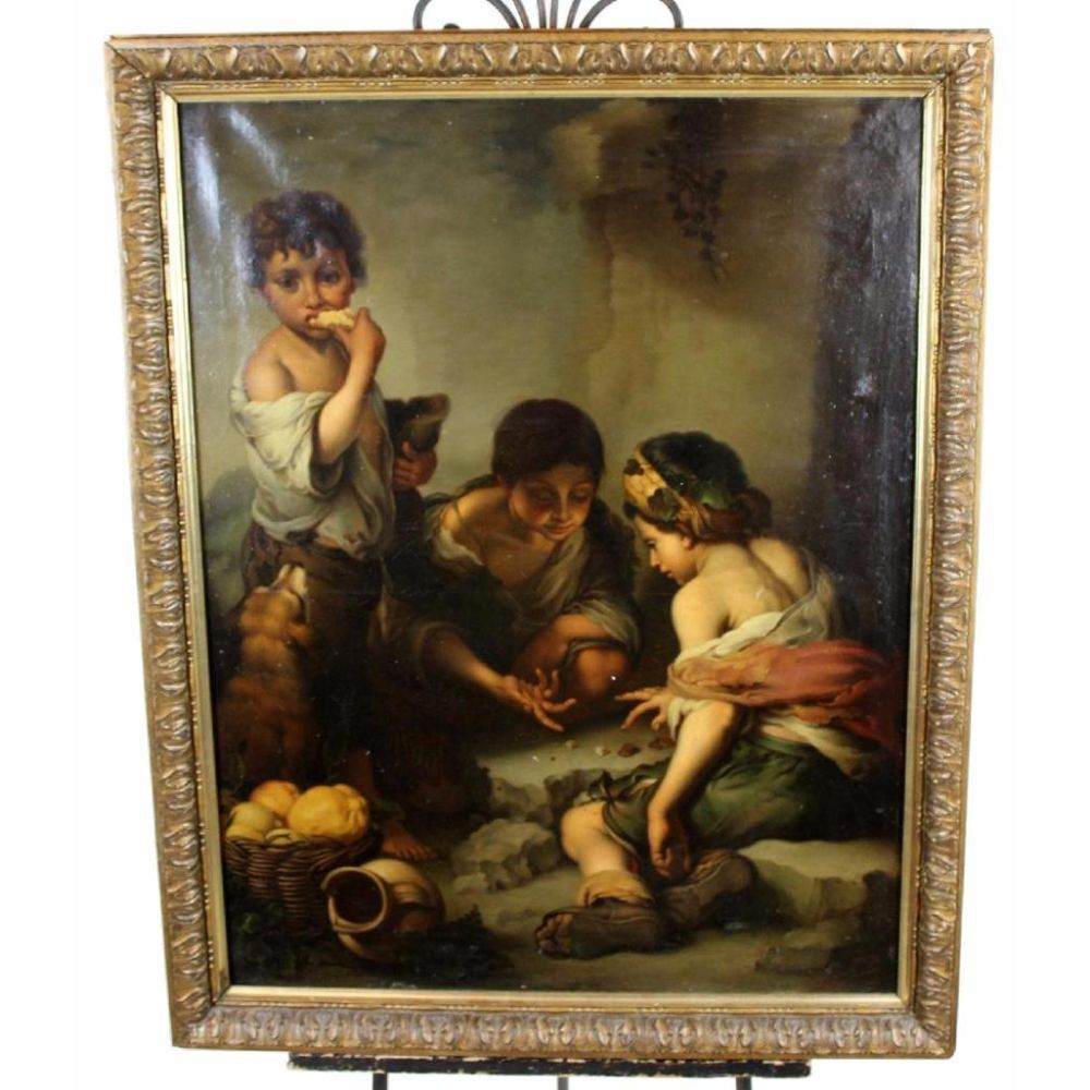 Oil On Canvas Painting, After Murillo, Boys Playing Dice