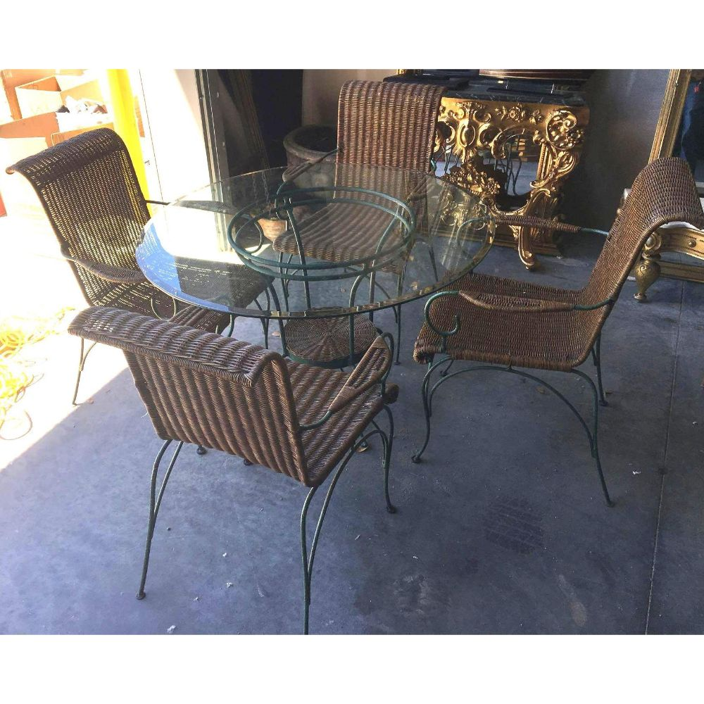 Enameled Iron & Wicker Beveled Glass Dining Table & Chair Set
