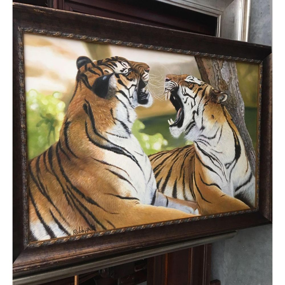 """20thc Signed Oil Painting, """"After The Hunt"""", Pair of Tigers"""