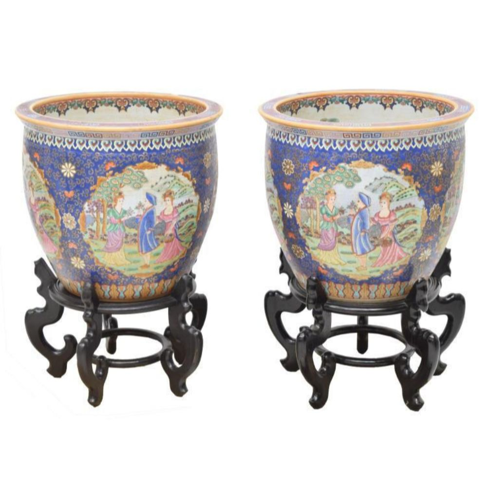 (2) Chinese Famille Rose Parcel Gilt Fish Bowl