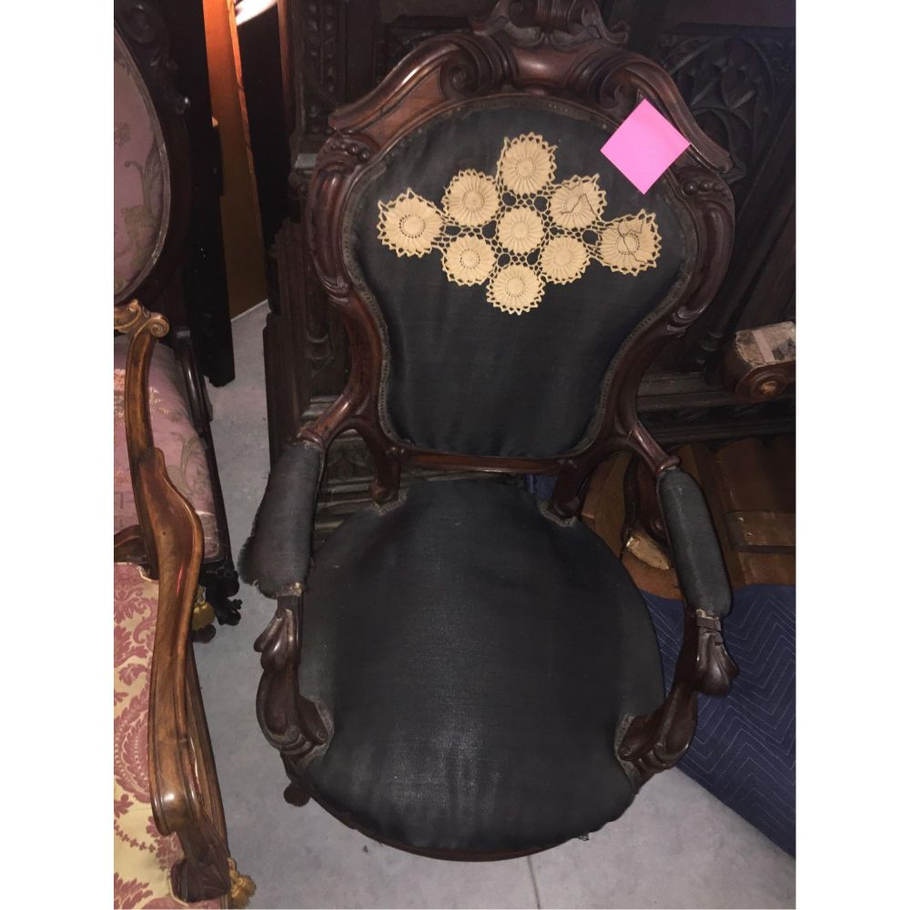 19thc Victorian Armed Balloon Back Parlor Chair