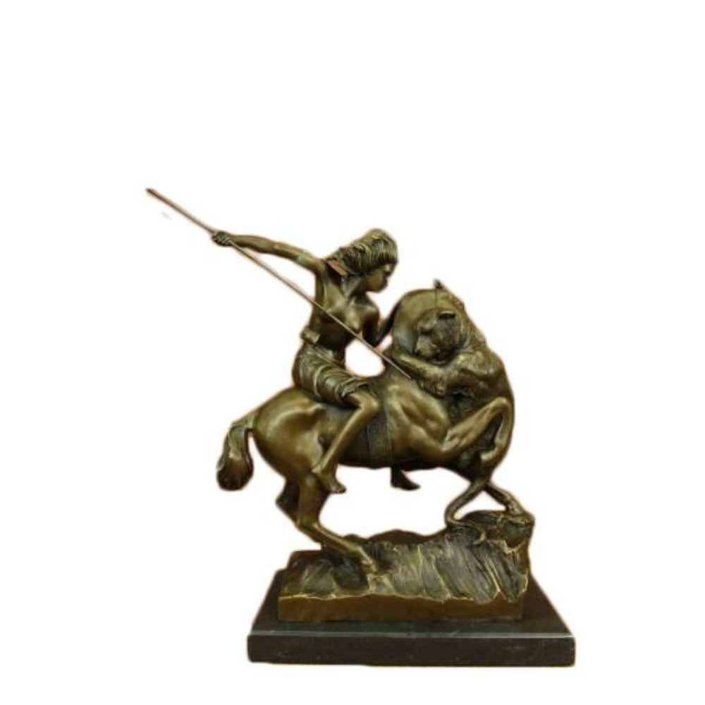 Amazon on Horseback Attacked by a Tiger August-Karl-Edouard Kiss Bronze Statue Without Spear