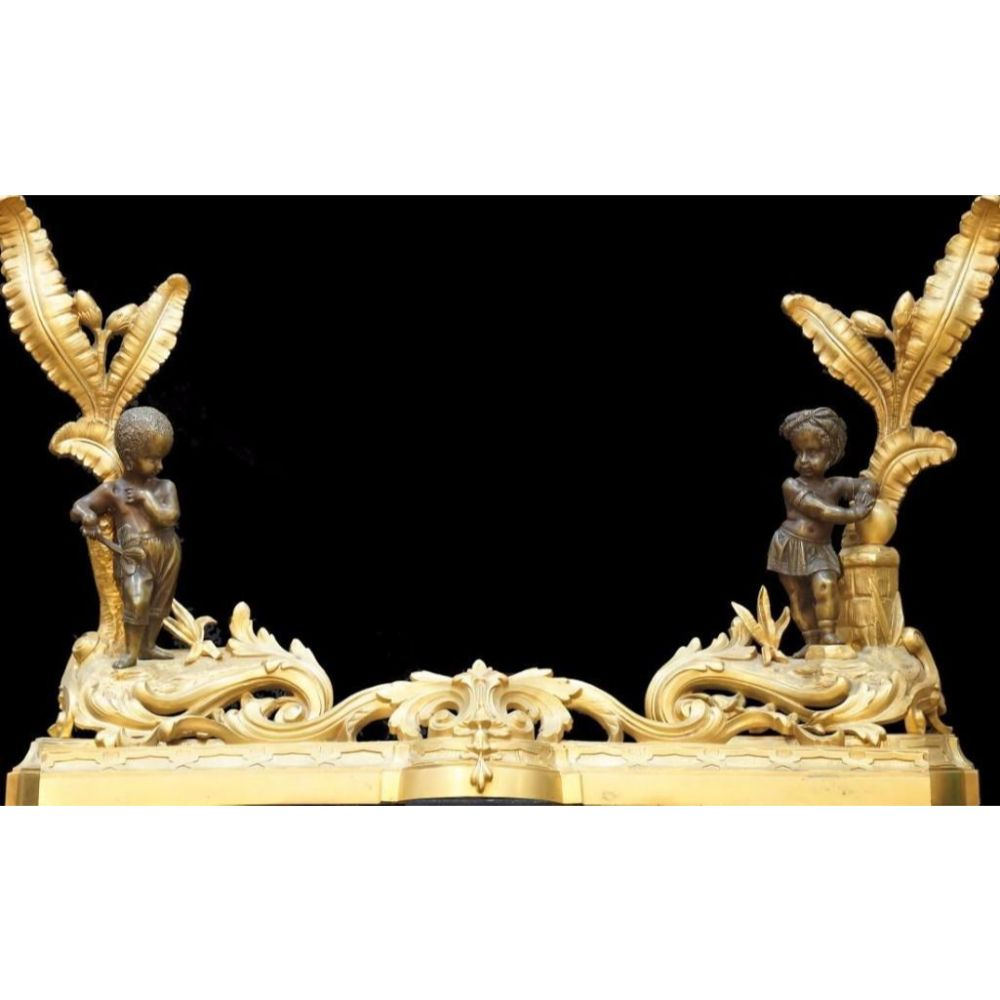 One of a Kind Pair of Dore Bronze Andirons with Center Bar