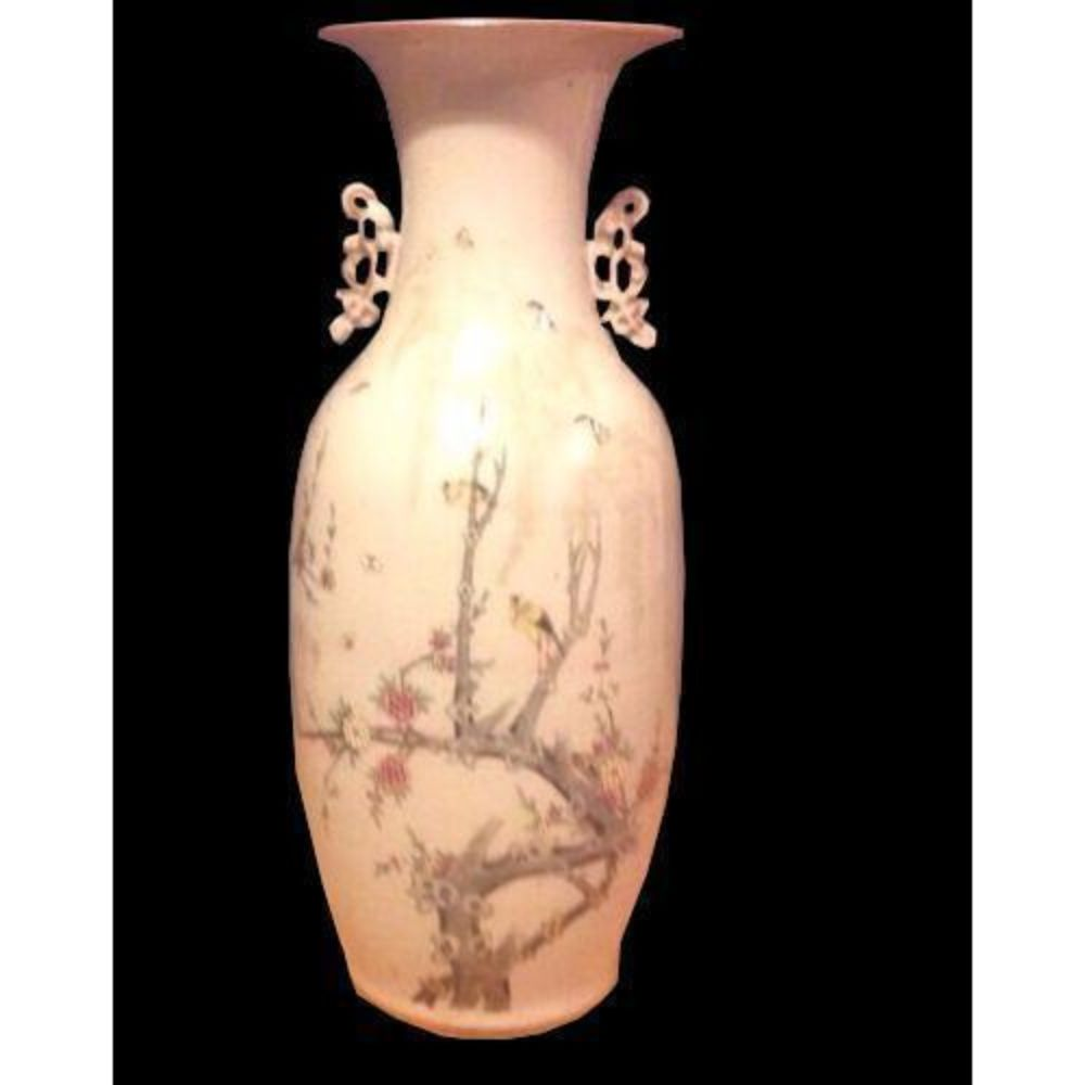 """Chinese Birds Tree Blossoms Butterflies Large Porcelain Vase 22"""" Old"""